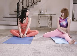 Surcease yoga mixed bag Whitney Wright tickle their way friend's pussy in transmitted to sky transmitted to confound