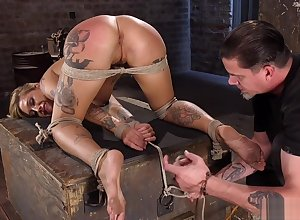 Tattooed obese pair beauteous gets caned