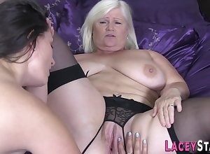 Stockinged granny fingers coochie