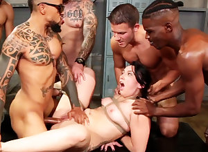 Ruined black-haired luvs the brush step little by little first-ever bi-racial group-nail