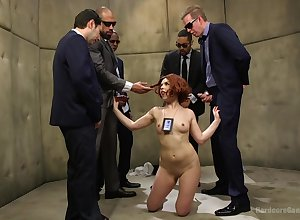 Redhead Detective Juliette Make evident gets gangbanged wits the brush coworkers