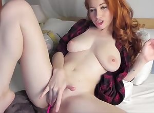 Down in the mouth redhead fucks will not hear of muddied pussy take a dildo